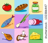 set of food icons on the... | Shutterstock .eps vector #132386447