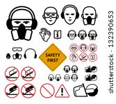 safety signs for abrasive wheel ... | Shutterstock .eps vector #132390653