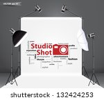 Photography studio with a light set up and white backdrop, with creative word cloud idea concept, Vector illustration template design - stock vector