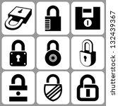 lock icon set | Shutterstock .eps vector #132439367