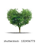 Heart Shape Tree Over A White...