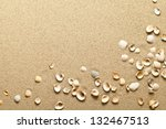 sea shells on sand. summer... | Shutterstock . vector #132467513