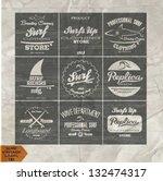 vector retro surf label set.   Shutterstock .eps vector #132474317