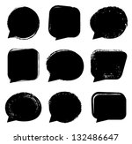 black speech bubble set | Shutterstock .eps vector #132486647