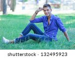 young casual man posing in the... | Shutterstock . vector #132495923