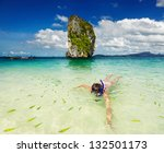 woman swimming with snorkel ... | Shutterstock . vector #132501173