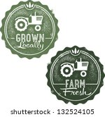 Grown Locally Farm Fresh Stamps - stock vector