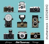 Vintage Camera Set - stock vector