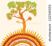 Vintage vector illustration of ecology, sunny ornamen and tree