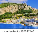 View of Marina Grande, the harbor of Capri, Italy - stock photo