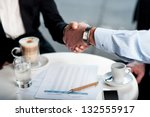 two business tycoons meet over...   Shutterstock . vector #132555917