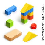 brick house. wooden toy vector... | Shutterstock .eps vector #132563663