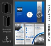 vector blue brochure template... | Shutterstock .eps vector #132574373