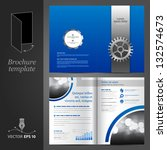 vector blue brochure template... | Shutterstock .eps vector #132574673
