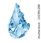 Conceptual water drop falling isolated on white background - stock photo