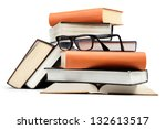 a stack of books on a white... | Shutterstock . vector #132613517