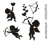 cupid set over white background.... | Shutterstock .eps vector #132622913
