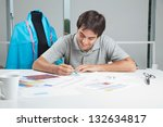 young male designer drafting... | Shutterstock . vector #132634817