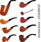 smoking pipes | Shutterstock .eps vector #132638423
