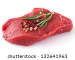 raw beef with spices on white... | Shutterstock . vector #132641963