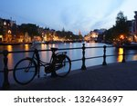 Stock photo view of the canal in amsterdam at night 132643697