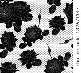Delicate pattern with black roses flowers. Vector seamless background.