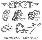 sport equipment doodle isolated ... | Shutterstock .eps vector #132672887
