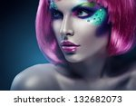 woman with pink hair and pink... | Shutterstock . vector #132682073