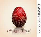 red easter egg with decorative... | Shutterstock .eps vector #132684317