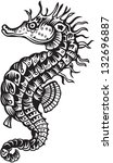sea horse  black and white style | Shutterstock .eps vector #132696887