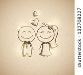 hand drawn wedding couple on... | Shutterstock . vector #132708227