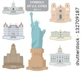 symbols of us cities. set 3.... | Shutterstock .eps vector #132709187