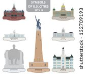 Symbols of US cities. Set 10. Vector for you design - stock vector