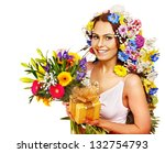 woman with gift box and flower... | Shutterstock . vector #132754793