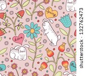 cute seamless pattern with... | Shutterstock .eps vector #132762473