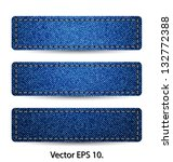 Blue Denim Jean TAG Label Texture Background, Vector Illustration EPS 10. - stock vector