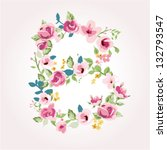vector flower font capital b | Shutterstock .eps vector #132793547