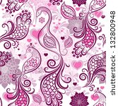 Pink-purple repeating vintage pattern with stylized birds and flowers and hearts (vector) - stock vector