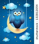 Owl and moon, nocturnal sky. Vector illustration - stock vector