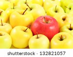 red apple between yellow apples ... | Shutterstock . vector #132821057