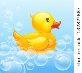 rubber duck in blue water. 10eps