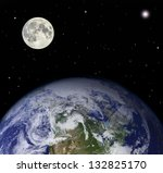 Planet earth and moon - Elements of this image furnished by NASA - stock photo