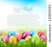 easter background with colorful ... | Shutterstock .eps vector #132833453