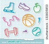 set of hand drawn sport symbols ... | Shutterstock .eps vector #132835853