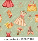 vintage seamless pattern.... | Shutterstock . vector #132859187