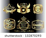 black vintage retro golden... | Shutterstock .eps vector #132870293