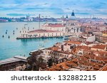Venetian lagoon with ships. NIce aerial view - stock photo