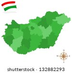 map of hungary  provinces and... | Shutterstock .eps vector #132882293
