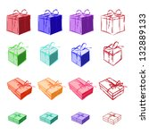 set of colored gift boxes tied... | Shutterstock .eps vector #132889133
