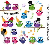 Vector Set of New Year's Celebration Themed Owls